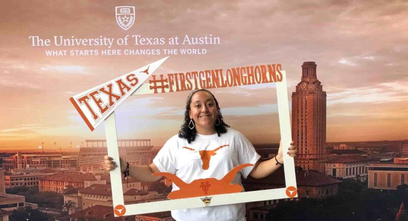 #FirstGenLonghorn in front of Tower backdrop