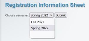 Spring 2022 selected in RIS dropdown list