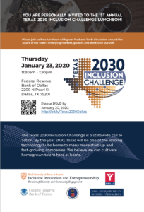 Flyer for Texas 2030 Inclusion Challenge Luncheon in Dallas