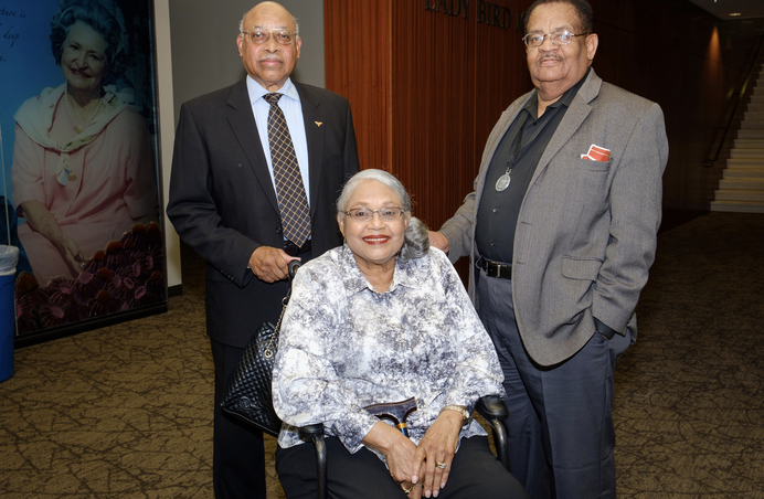 Willie C. Jordan (right) with fellow UT Precursors Peggy and Leon Holland at a campus event