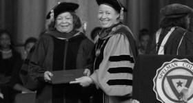 Judge Murphy receiving her degree (cropped)
