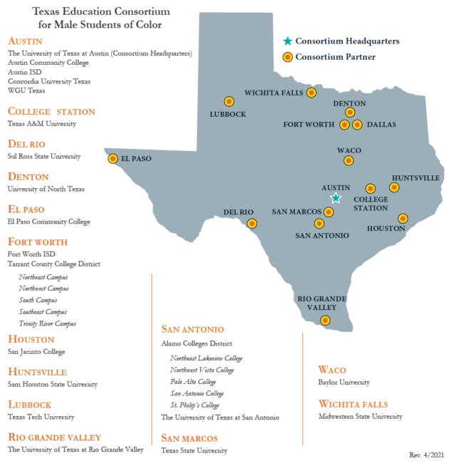 Consortium members locations across Texas map