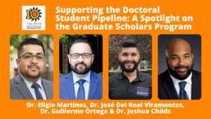 Supporting the Doctoral Pipeline Webinar with Drs. Martinez, Del Real Viramontes, Ortega, and Childs. Headshots and 10 year sun logo