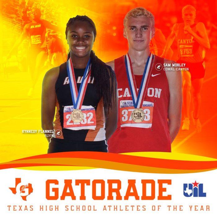 Image of two student athletes with orange background