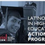 Webinar flyer for Latinos in higher education