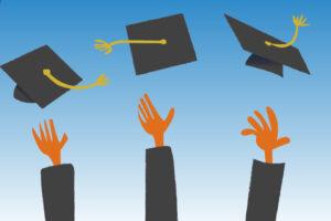 Graduation illustrations: grads tossing mortarboards