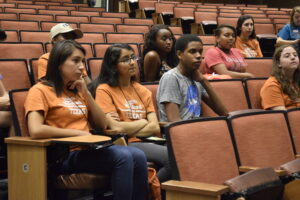 Image of students at service learning orientation