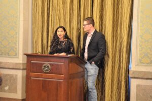 Award ceremony emcees: Student Government President Colton Becker and Student Government Vice President Mehraz Rahman