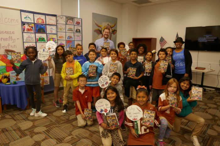 group shot with children and author