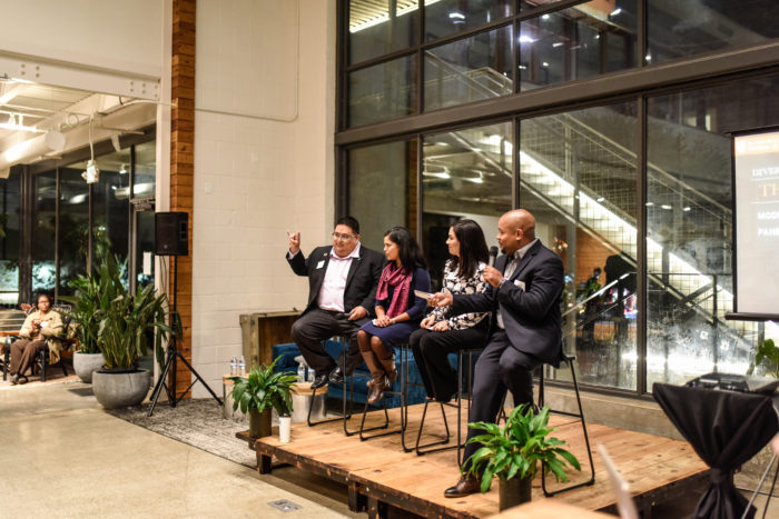 Photo of panel at Impact Hub