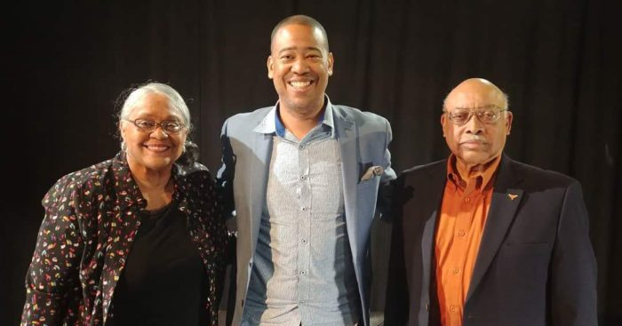 Vidal Marsh (center) with two proud members of the UT Precursors Peggy and Col. Leon Holland. The Hollands are among several members of the university community who are featured in the documentary, which is projected to premiere at the spring 2019 SXSW Film Festival.