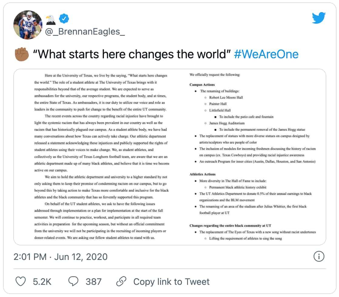 Brennan Eagles' #WeAreOne tweet