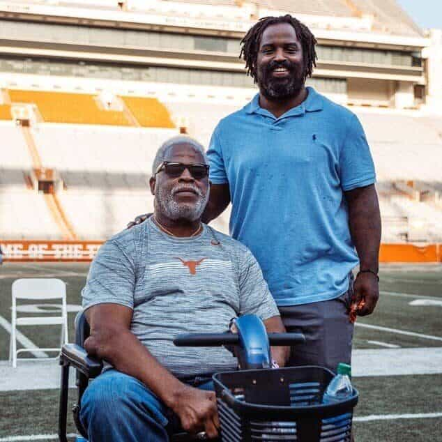 Earl Campbell and Rick Williams on the field renamed in their honor
