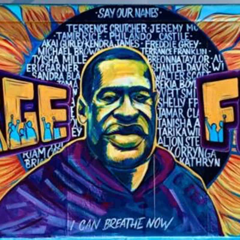 Close up of George Floyd mural focusing on his face