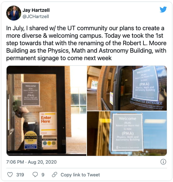 President Hartzell's tweet about renaming RLM to PMA building