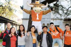 YEC-RGV students pictured at UT Austin with Hook'em