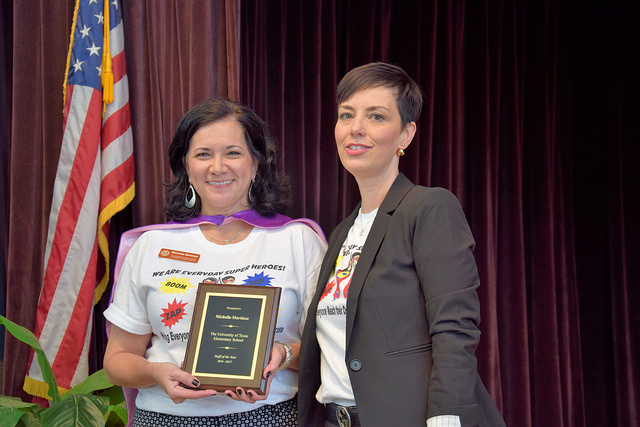 Michelle Martinez (left) with UTES Superintendent Dr. Melissa Chavez at the summer convocation ceremony, where she received the Staff of the Year Award