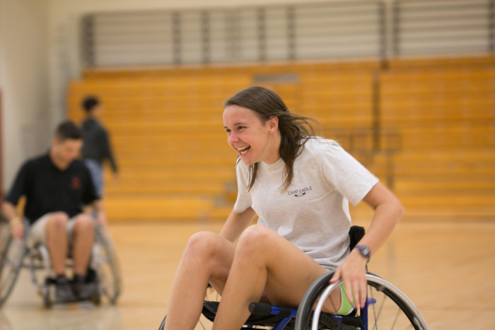 image of student doing wheelchair rugby