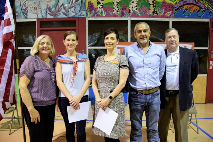 From left: Dottie Goodman, executive principal, TNC; Laura Moses, representative, Jordan Spieth Family Foundation; Dr. Melissa Chavez, superintendent, UT-UCS; Eddie Cornejo, owner, CCS Construction Services; David Anderson, board member, UT-UCS advisory board
