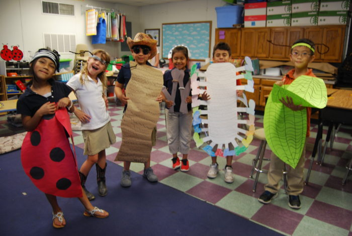 students dressed like bugs