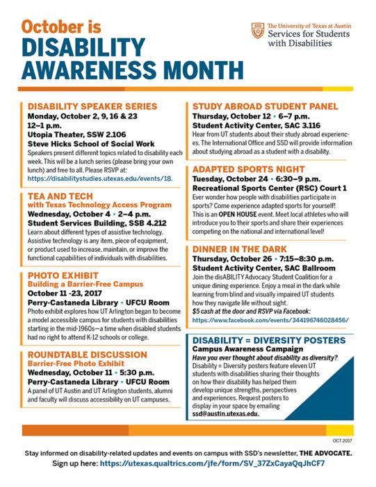 disability awareness month calendar of events